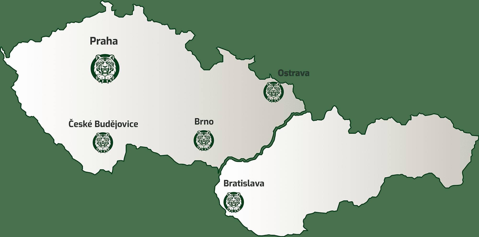 Mapa poboček Centr Group